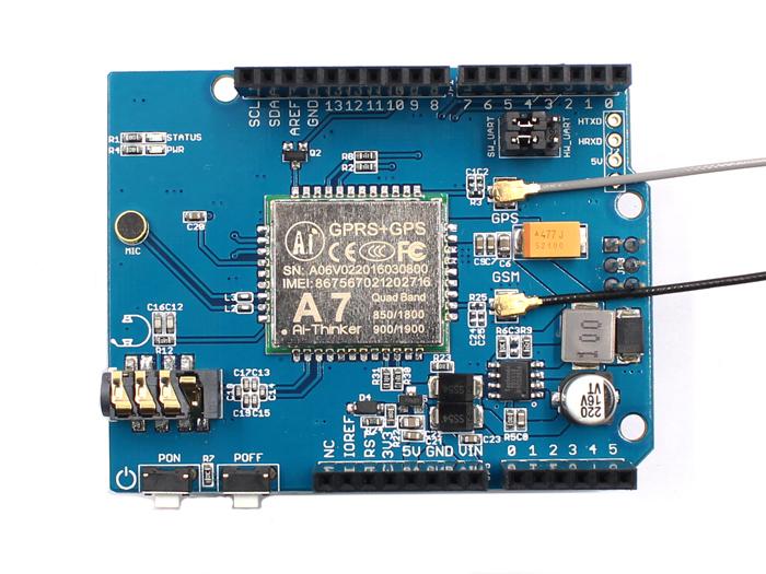 GPRS GSM GPS Shield (AI- A7) - MakerFabsWiki